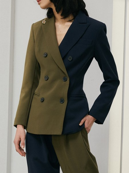 Army Green Double Breasted Color-block Blazer