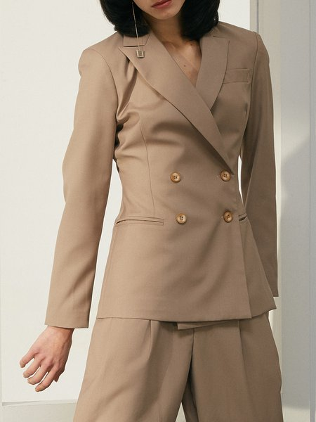 Brown Work Buttoned Solid Lapel Blazer