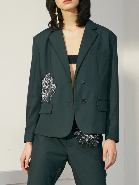 Dark Green Sequins Solid Long Sleeve Blazer