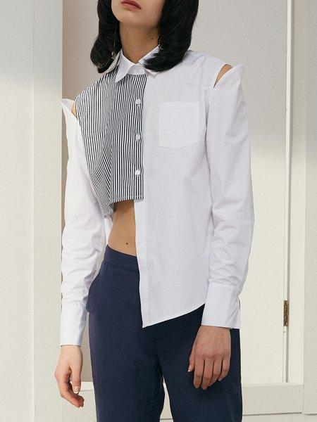 Cotton Casual Stripes Asymmetrical Blouse