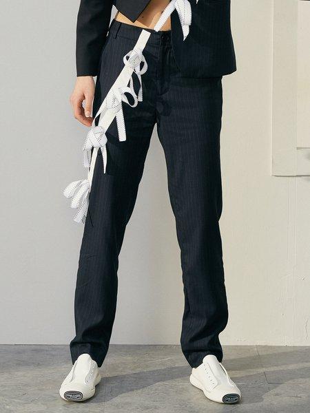 Dark Blue Casual Appliqued Straight Leg Pants
