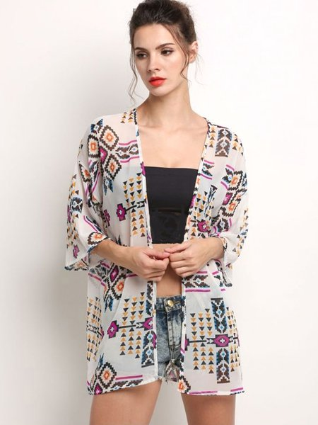 3/4 Sleeve Boho Geometric Print Loose Kimono