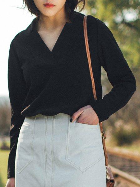 Black V Neck Knitted Long Sleeve T-Shirt