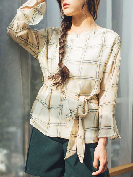 Checkered/Plaid Casual Frill Sleeve Crew Neck Blouse with Belt