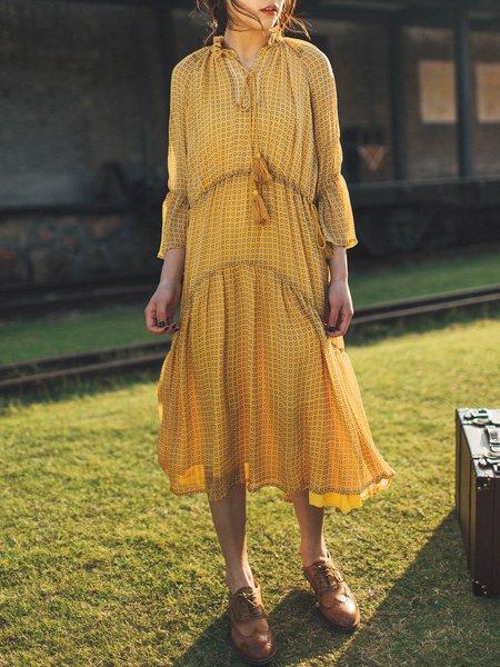 Yellow Chiffon Boho Stand Collar Holiday Dress