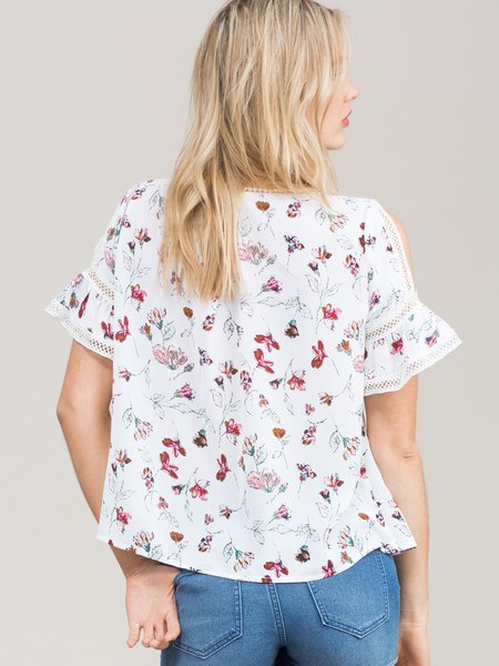 White Floral Cold Shoulder Short Sleeve Blouse - StyleWe.com