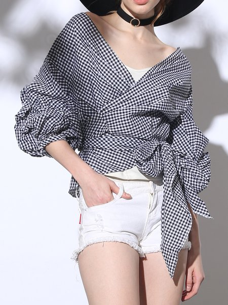Black Gingham Balloon Sleeve Asymmetric Blouse