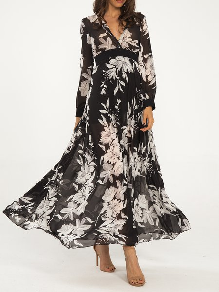Black Swing Surplice Neck Casual Floral Maxi Dress