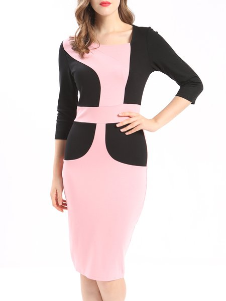 Pink Color-block Elegant 3/4 Sleeve Sheath Midi Dress