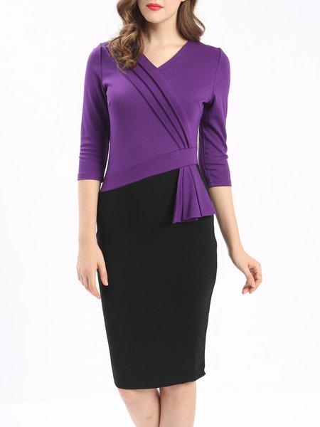 Purple 3/4 Sleeve Color-block Midi Dress