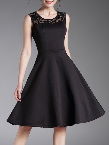 Black Lace Paneled Sleeveless Solid Midi Dress