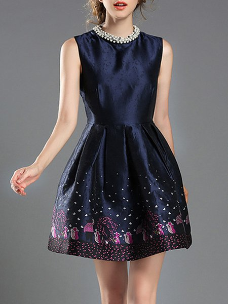 Elegant Beaded Sleeveless Crew Neck Folds Party Dress