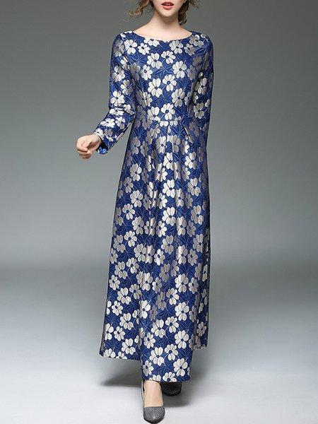 Dark Blue Swing Floral Long Sleeve Maxi Dress