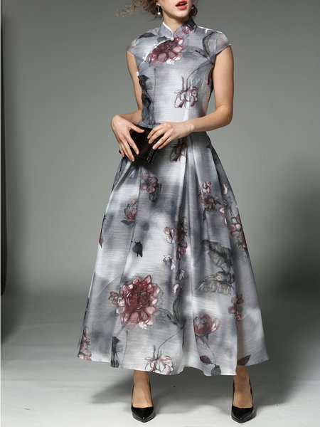 Sleeveless Vintage Floral Stand Collar Maxi Dress