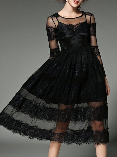 Black Lace Mesh Paneled Crew Neck Elegant Party Dress