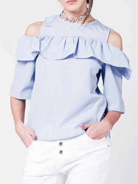 Blue Cotton-blend Girly Crew Neck Ruffled Blouse