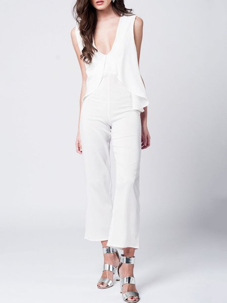 White Layered Sleeveless Crew Neck Solid Jumpsuit