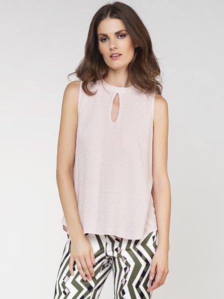 Pink A-line Girly Sleeveless Keyhole Tank