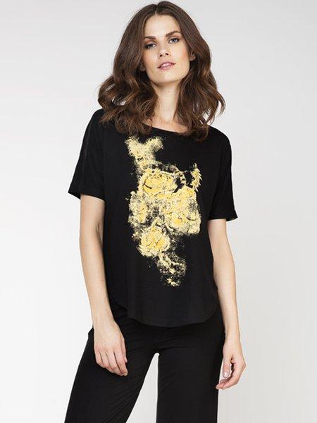 Black Short Sleeve Printed Crew Neck T-Shirt