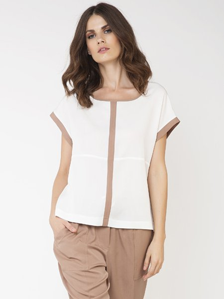 White Tencel Color-block Shorts Sleeve T-Shirt