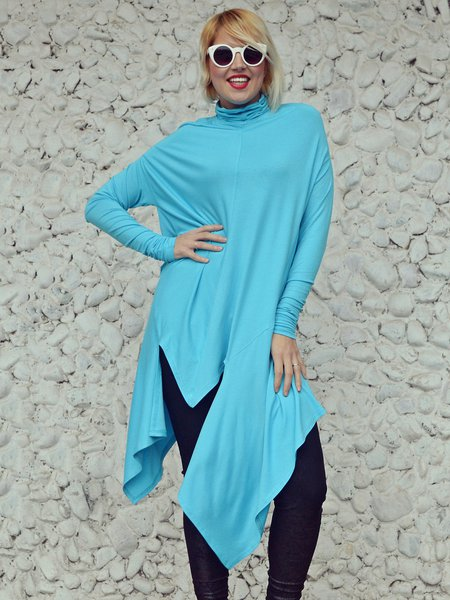 Light Blue Long Sleeve Solid Stand Collar Asymmetrical Tunic