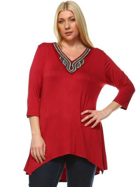 Crimson V Neck High Low 3/4 Sleeve Plus Size Tunic