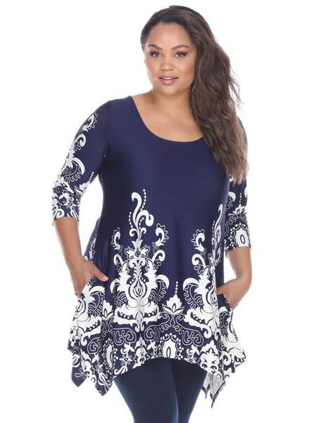 Navy Blue Pockets Printed 3/4 Sleeve Plus Size Tunic