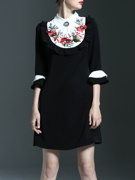 Black Floral-embroidered Girly Ruffled Midi Dress