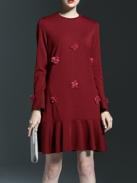 Beaded Long Sleeve Appliqued Cotton-blend Floral Mini Dress