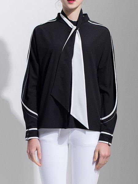 Black Long Sleeve Shirt Collar Blouse