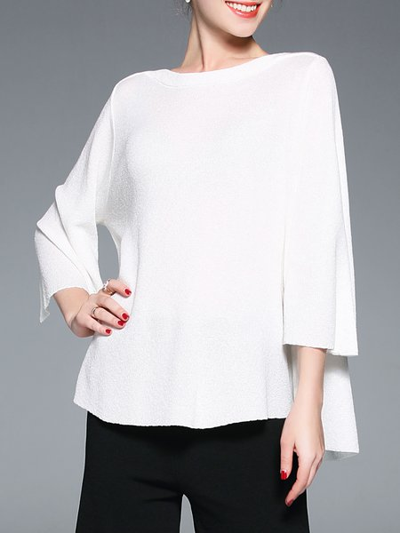 White Cotton-blend 3/4 Sleeve Shift Sweater