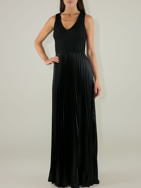 Black Elegant Pleated Sleeveless Evening Dress