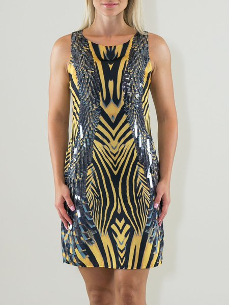 Yellow Animal Print Sleeveless Crew Neck Party Dress