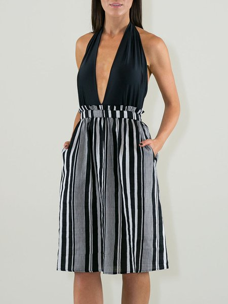 Off Shoulder Printed Sleeveless Stripes Sexy Halter Party Dress