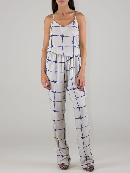 Sand Printed Boho Checkered/Plaid Spaghetti Jumpsuit