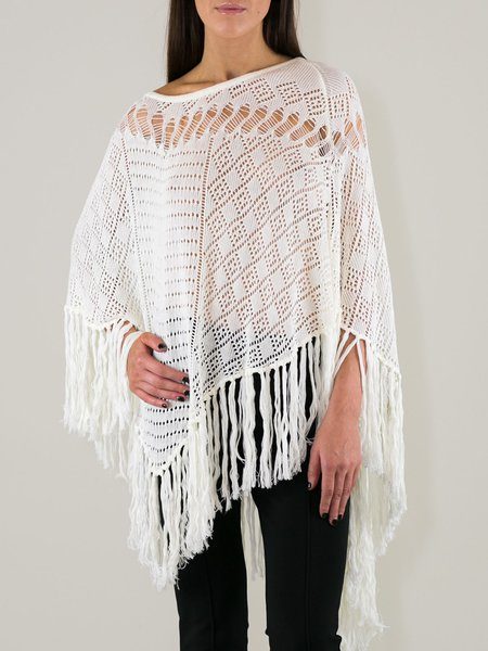 Off White Slash Neck  Knitted Fringed Casual Poncho And Cape