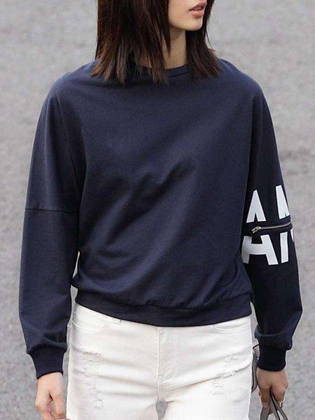 Casual Batwing Letter H-line Printed Sweatshirt