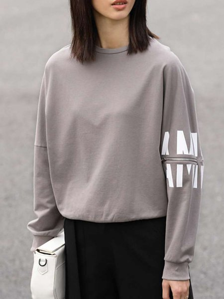 Crew Neck Batwing Cotton Letter Printed Sweatshirt