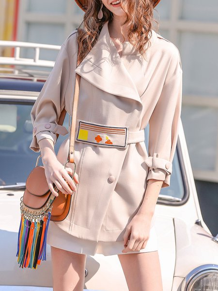 Apricot 3/4 Sleeve Lapel H-line Buttoned Embroidered Coat