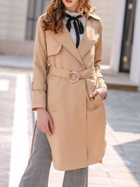 Khaki Solid Lapel Casual Split Trench Coat