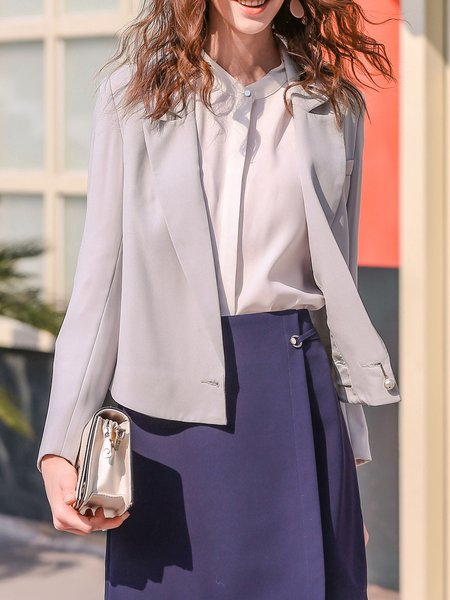 Light Gray Formal Solid Lapel Buttoned Blazer