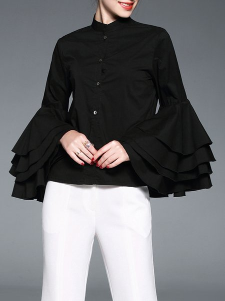 Frill Sleeve Casual Buttoned Stand Collar H-line Blouse