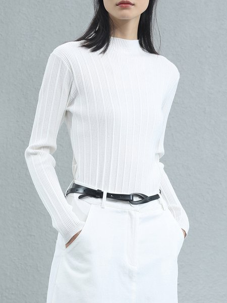 Simple Knitted Stand Collar Long Sleeved Top