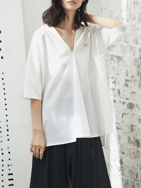 3/4 Sleeve Simple Blouse with Brooch