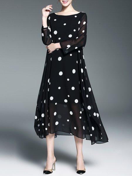 Asymmetrical Polka Dots Casual Long Sleeve Maxi Dress