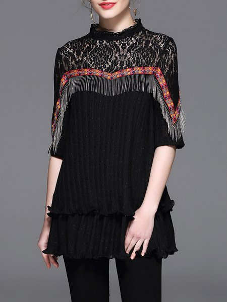 Fringed Half Sleeve Casual Stand Collar Tops