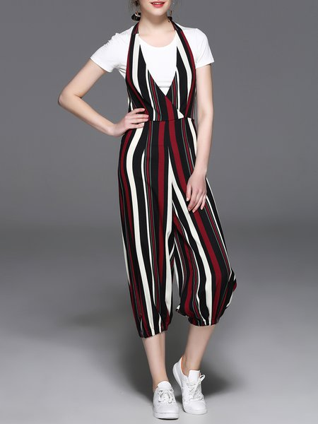 Printed Casual V Neck Stripes Overall