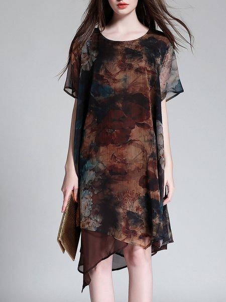 Crew Neck Short Sleeve Asymmetrical Printed Vintage Style Midi Dress