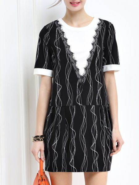Wavy Printed Cotton-blend Short Sleeve Casual Color-block Mini Dress
