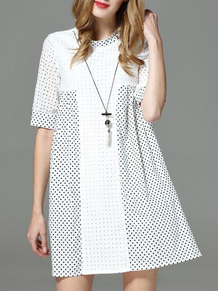 Polka Dots Embroidered Half Sleeve Pierced Mini Dress